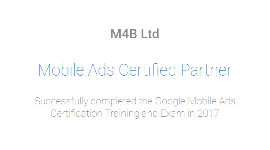 Google Partner M4B Achieve Google Mobile Ads Specialisation